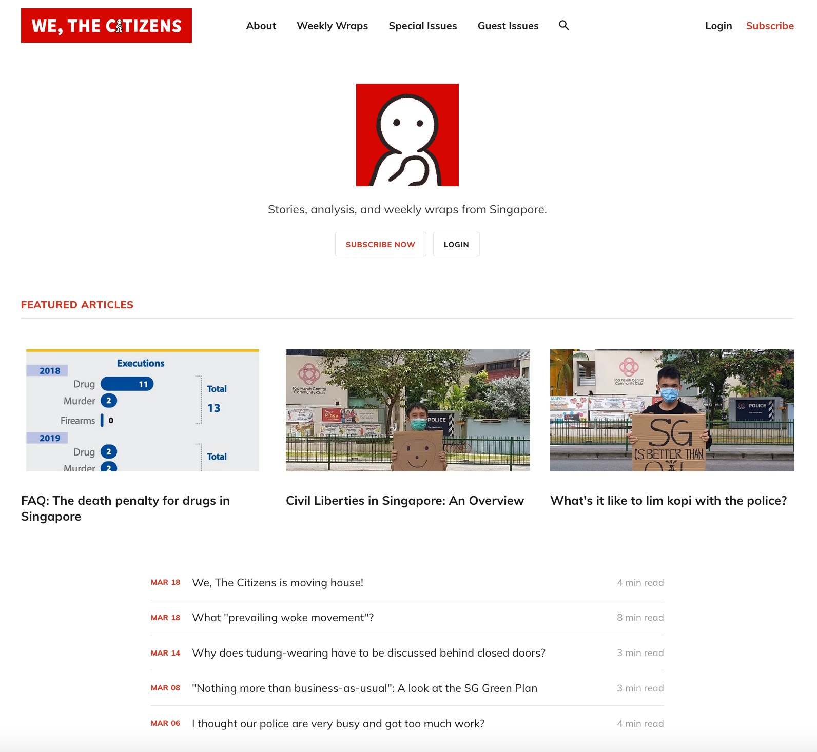 A screencap of the new homepage for the We, The Citizens newsletter.